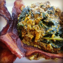 Bacon Kale Curry Eggs