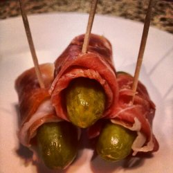 "Prosciutto Wrapped Pickles - ""Turtles in a Blanket"""